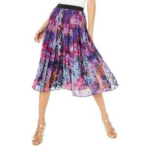 Bar III Printed Pleated Midi Skirt Sunset Snake M